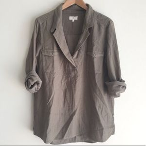 Lou & Gray Olive Green Linen Pop over top